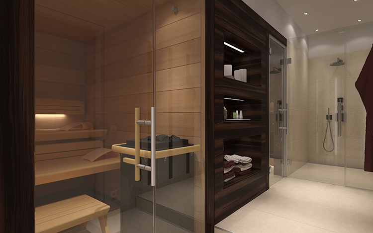 Luxury Home Sauna - huge glass panel door to the sauna on the left, wall walnut wooden cupboard and shower box on the right - LifetimeLuxury067