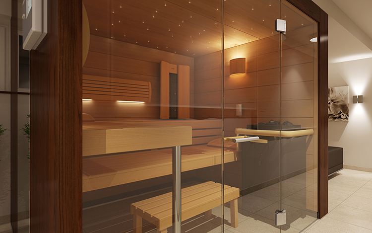Luxury Home Sauna - glass panel sauna wall with door in foreground. We glimpse wooden rack, benches, wooden rectangular panels, dark metal brazier - LifetimeLuxury079