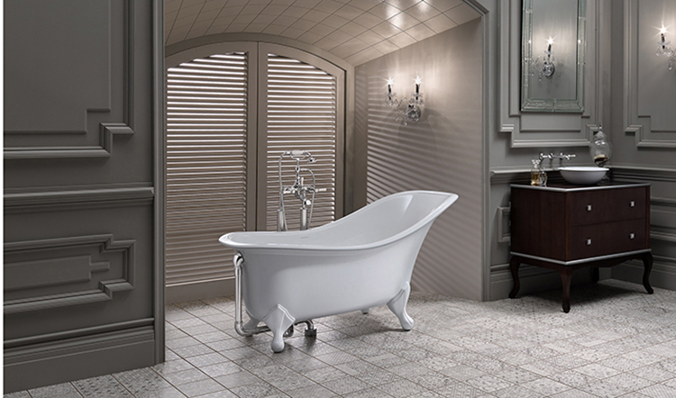 10. Luxury bath gallery -Drayton_BAth-white classical bathtub in a dark bathroom with white tile floor