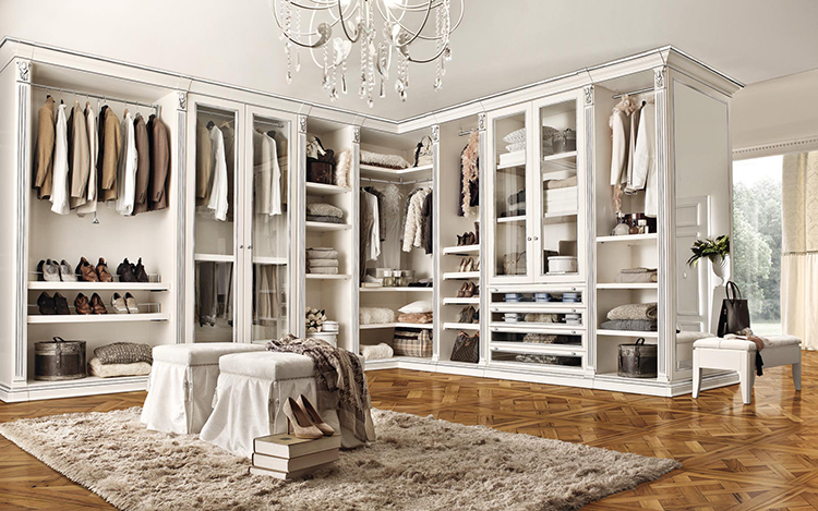 Lifetime Luxury - Luxury Closet Ideas020 - classical white wall wooden closet with several clothe racks with L form inside a combined space; parquet on the floor -