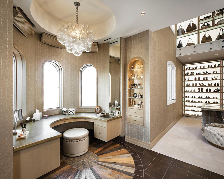 Lifetime Luxury - Luxury Closet Ideas033 - on the right, a semi-circular room with semi-circular counter with cabinets , marble floor; on the right, a room with a huge wall shoe rack -