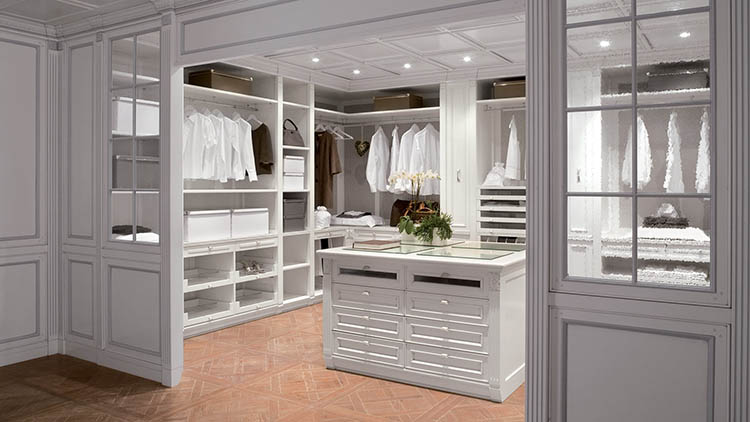 Lifetime Luxury - Luxury Closet Ideas056 - white classically decorated closet with an island in the middle and a reddish ceramic floor. We glimpe clothe and shoe racks on the left, clothe racks on the right -
