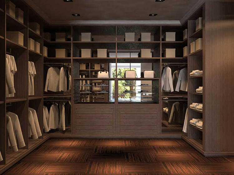 Lifetime Luxury - Luxury Closet Ideas097 - walnut wooden closet with two layers of clothe racks, shelves in the upper part, two cabinets with drawers in the central part, shelves from the floor to the ceiling on the right element -