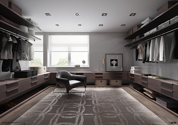 Lifetime Luxury - Luxury Closet Ideas - modern design closet with low round counter with cabinets, armchair in the middle, clothe racks on the right and trhe left, wide squared window in the foreground -147