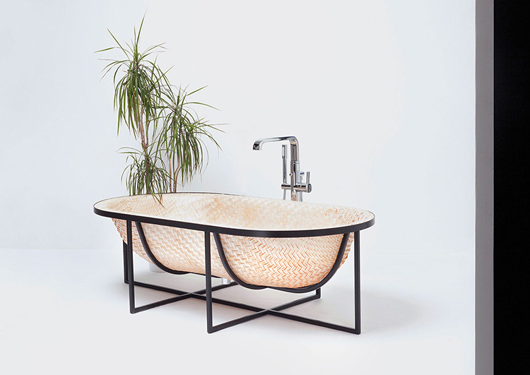 08. Luxury bath -Otaku Bath- bathtub made out of pressed woven veneer sheets