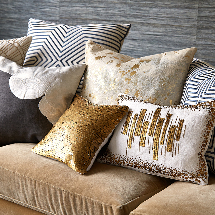 03 decorative pillows gallery -Johnathan Adler Pillows - talitha bars - golden disks embroidered on ivory linen