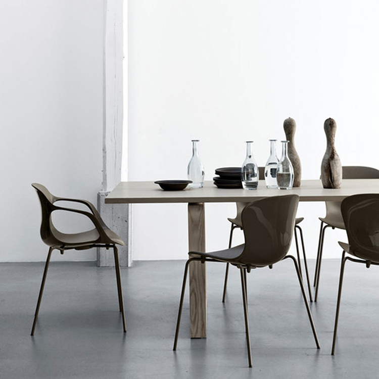 21.luxury chairs gallery - Kasper Salto Chairs - three NAP armchairs around a wooden table on a light gray background