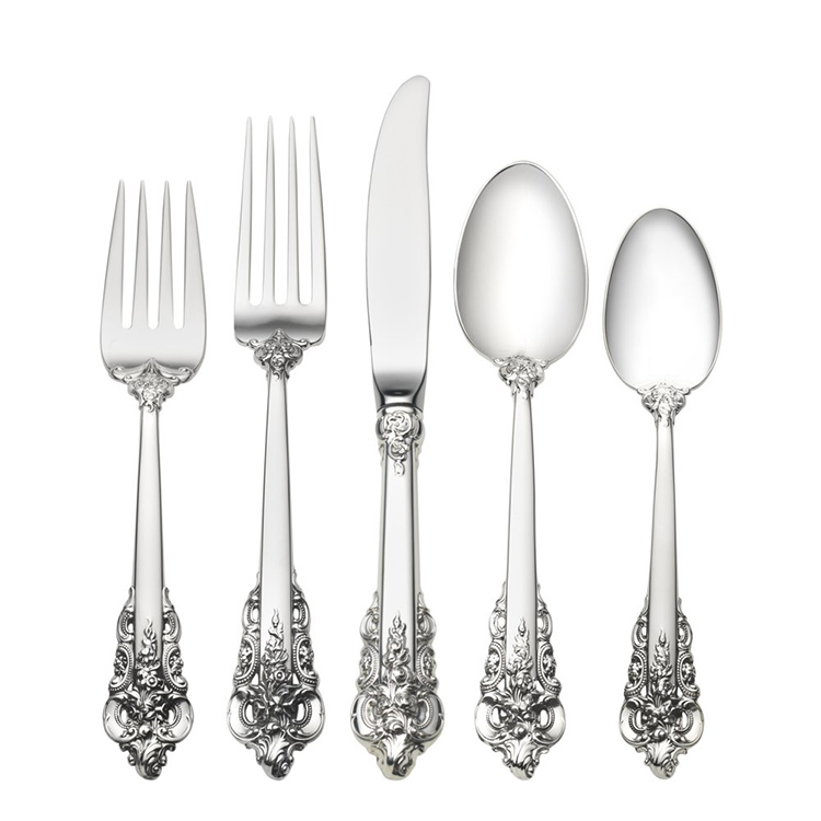 08. best flatware sets gallery - Lifetime Sterling Grand Baroque, forks, kinives and spoons in silver on a white background