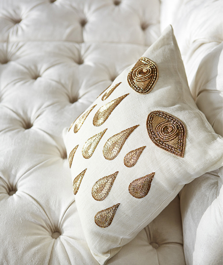 "01. decorative pillows gallery - pillow ""Muse Tears"" by Jonathan Adler. Handcraft gold bedwork embroidered on chunky ivory linen"