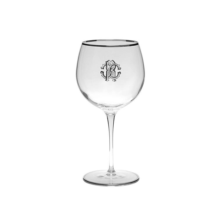 04.Long stem wine glasses gallery -Robert-Cavalli-monogram-platinum-large-long-stem-wine-glass