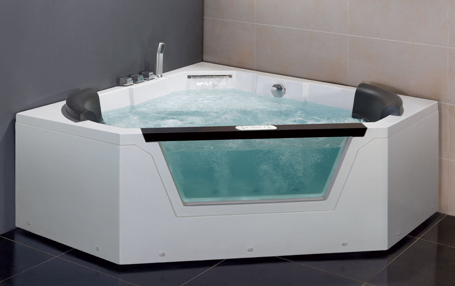 Corner hot tub